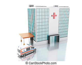 Hospital building and Ambulance. 3d illustration