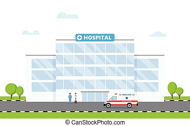 Hospital building and doctor and ambulance car