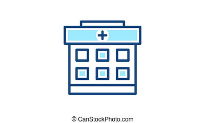 Hospital building animation icon. Clinic building pictogram.