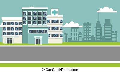 Hospital building cartoon HD animation