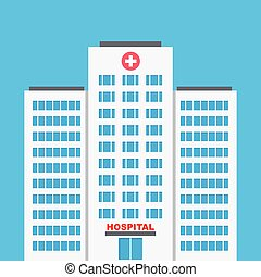 Hospital building, medical icon. Flat design vector