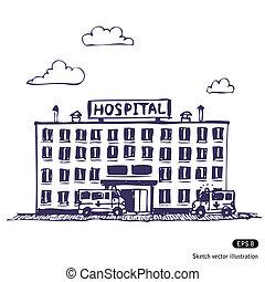 Hospital building. Hand drawn vector illustration on white