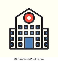 hospital building filled outline icon vector illustration