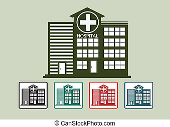Hospital building icon design in illustration