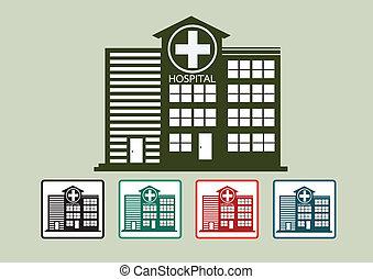 Hospital building icon design in illustration