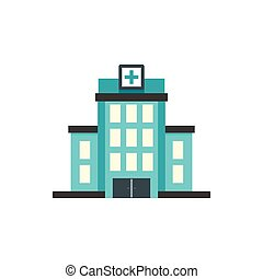 Hospital building icon, flat style