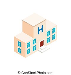 Hospital building icon, isometric 3d style