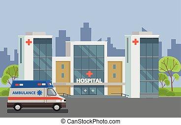Hospital building. Vector flat illustration