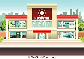 Hospital Building - A vector illustration of Hospital...
