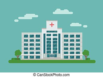 Hospital building in flat style