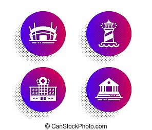 Hospital building, Lighthouse and Arena stadium icons set. Court building sign. Vector