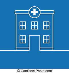 Hospital building, medical icon. Flat design vector