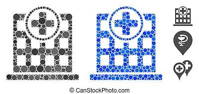 Hospital Building Mosaic Icon of Spheric Items - Hospital ...