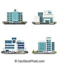 Hospital Building Set - Hospital building outdoors facades...