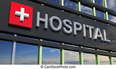 Hospital building sign closeup, with sky reflecting in the glass.
