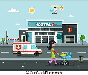 Hospital Building. Vector Flat Design Illustration.