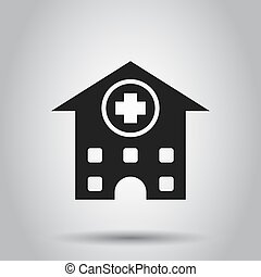 Hospital building vector icon. Infirmary medical clinic sign illustration. Business concept simple flat pictogram on isolated background.