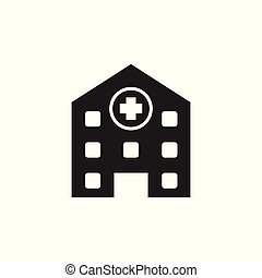 Hospital building vector icon. Infirmary medical clinic sign illustration.