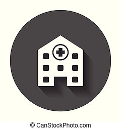 Hospital building vector icon. Infirmary medical clinic sign illustration on black round background with long shadow.