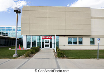 Hospital Building With Emergency Entrance - Exterior of...