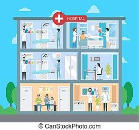 Hospital Building with Floors Vector Illustration