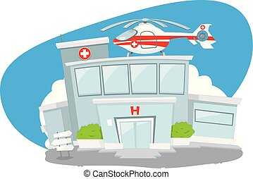 Hospital building with helicopter on its roof