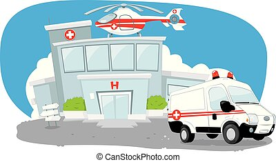 Hospital building with helicopter on its roof and a ambulance hurrying