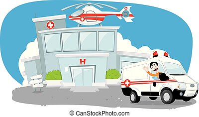 Hospital building with helicopter on its roof and an ambulance hurrying while its driver cheers