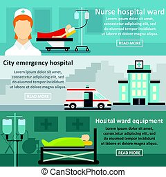 Hospital care banner horizontal set, flat style