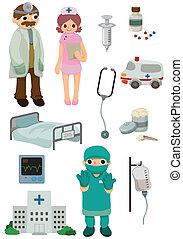 hospital, caricatura, icono