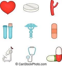 Hospital clinic icons set, cartoon style