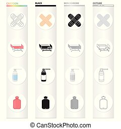 Hospital, clinic, pharmacy and other web icon in cartoon style., Rubber, equipment, tools, icons in set collection.