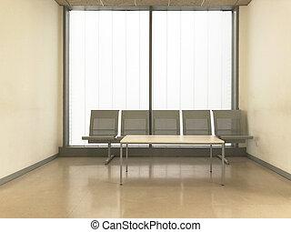 Hospital clinic waiting room. Empty hall. Indoor furniture