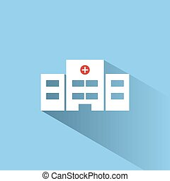 Hospital color icon with shadow on a blue background