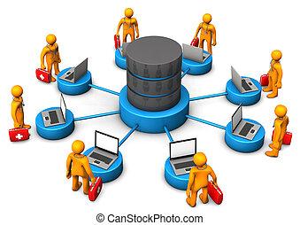 Hospital Database - Orange manikins with laptops and...