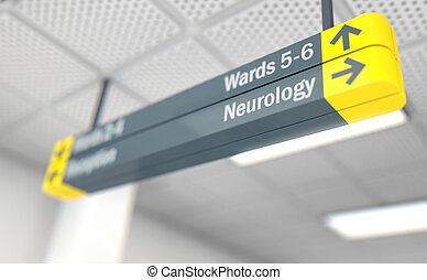 Hospital Directional Sign Neurology - A ceiling mounted...