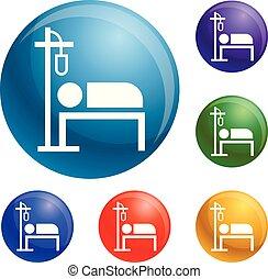 Hospital dropper icons set vector