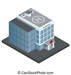 hospital, edificio, isométrico