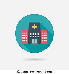 hospital, edificio, plano, estilo, icono, con, largo, sombras