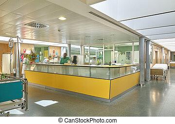 Hospital emergency hall with corridors. Health center indoor.