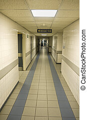Hospital emergency room - Empty hospital corridor, entrance ...