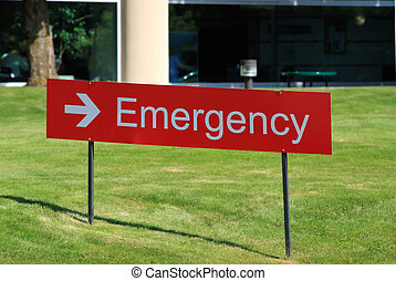Hospital Emergency Room Sign - Outdoor arrow sign pointing...