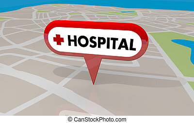 Hospital Emergency Room Urgent Care Clinic Map Pin 3d Illustration