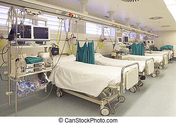Hospital emergency room with gurneys