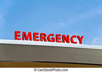 Hospital Emergency Sign - A Red Hospital Emergency Sign