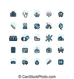 Hospital filled outline icon set. Vector and Illustration.