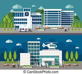 Hospital Flat Banner Set