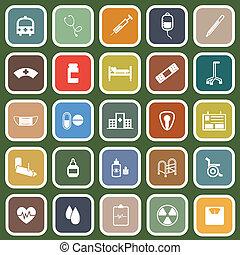 Hospital flat icons on green background