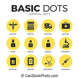 Hospital flat icons vector set