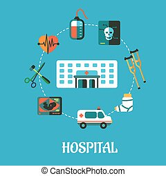 Hospital flat inforgraphic design or poster with a hospital...